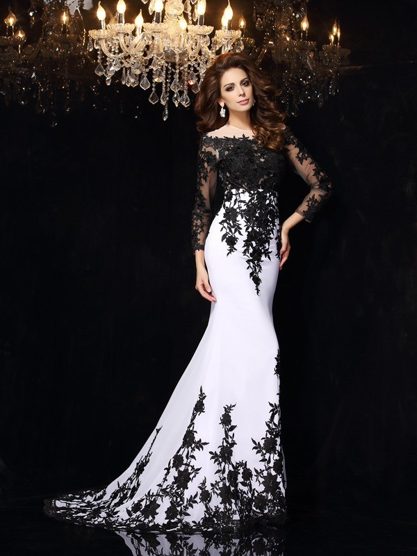 Sheath/Column Scoop Lace Long Sleeves Sweep/Brush Train Chiffon Dresses