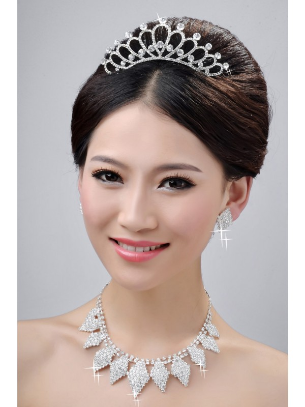 Alloy Clear Crystals Wedding Headpieces Necklaces Earrings Set