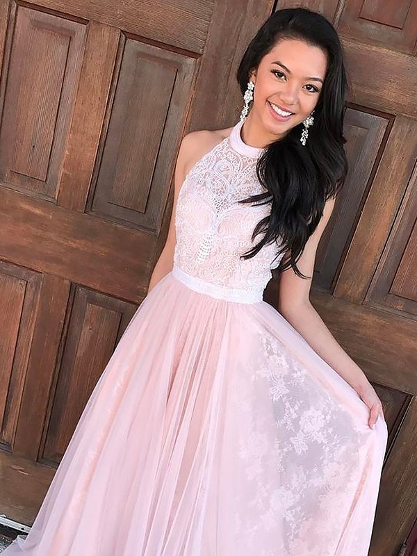 A-Line Sleeveless Halter Tulle Lace Sweep/Brush Train Dresses