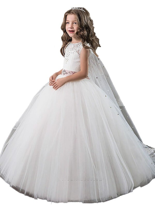 Ball Gown Jewel Sleeveless Beading Floor-Length Tulle Flower Girl Dresses