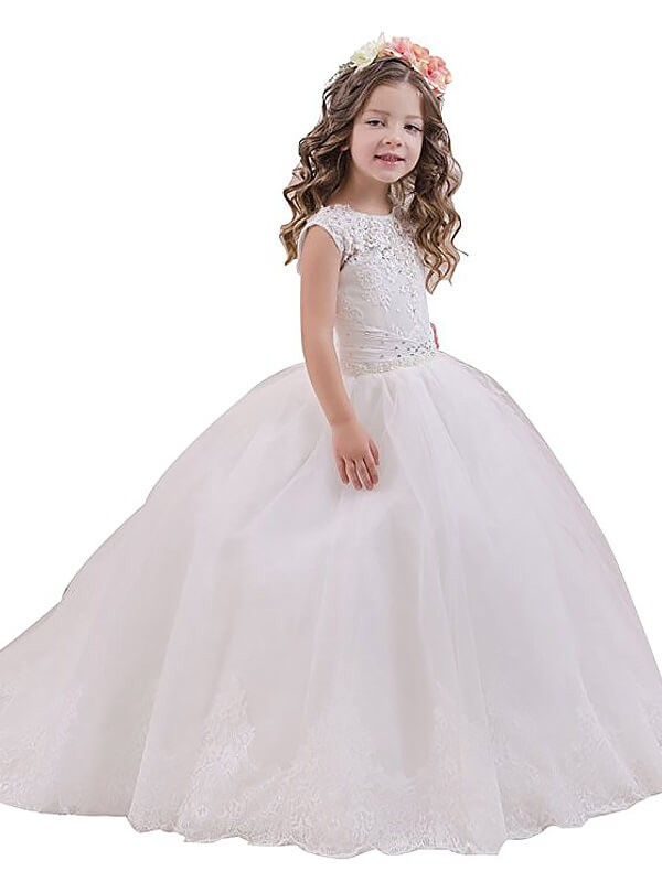 Ball Gown Sleeveless Scoop Floor-Length Tulle Flower Girl Dresses
