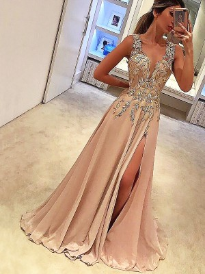 A-Line/Princess V-neck Sleeveless Floor-Length Silk like Satin Dresses