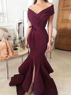 Mermaid Off-the-Shoulder Sleeveless Floor-Length Ruched Satin Dresses