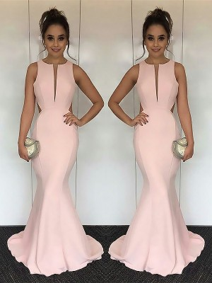 Mermaid Jewel Sleeveless Sweep/Brush Train Ruched Satin Dresses