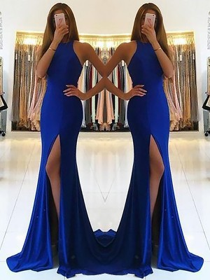 Sheath Halter Sleeveless Sweep/Brush Train Ruffles Spandex Dresses