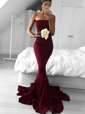 Mermaid Strapless Sweep/Brush Train Jersey Sleeveless Ruffles Dresses