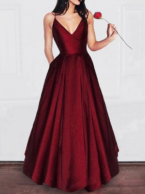 A-Line/Princess V-neck Floor-Length Satin Sleeveless With Ruffles Dresses