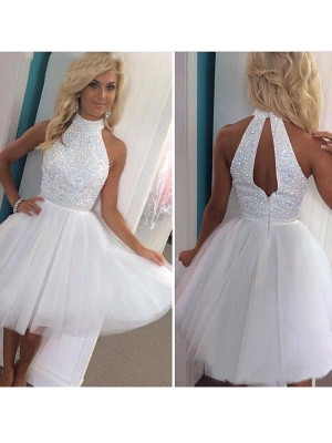 A-Line/Princess Sleeveless Halter With Beading Tulle Short/Mini Dresses