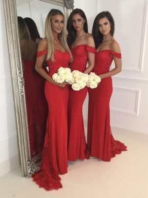 Mermaid Off-the-Shoulder Sleeveless Jersey Sweep/Brush Train Bridesmaid Dresses