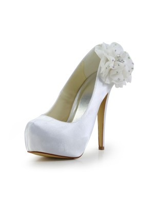Women's Satin Stiletto Heel Closed Toe Platform White Wedding Shoes With Rhinestone