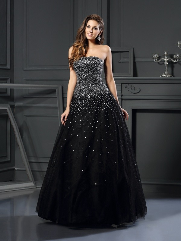 Ball Gown Strapless Beading Sleeveless Long Satin Quinceanera Dresses