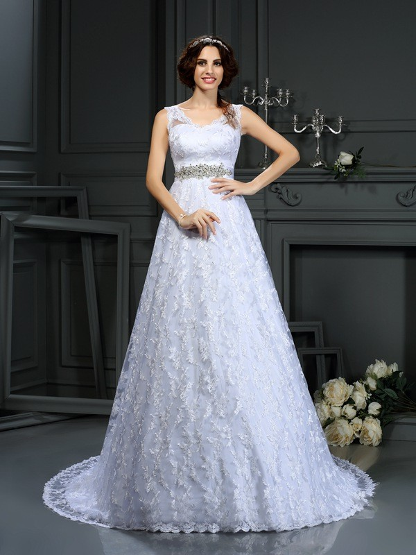A-Line/Princess V-neck Lace Sleeveless Long Satin Wedding Dresses