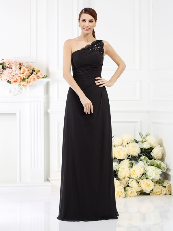 Sheath/Column One-Shoulder Sleeveless Long Satin Bridesmaid Dresses