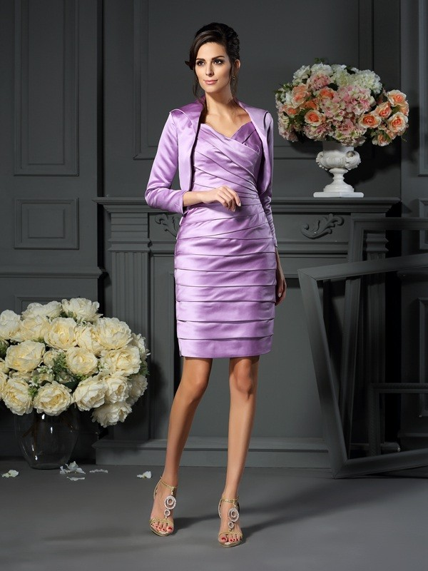 Sheath/Column Straps Ruched Sleeveless Short Satin Mother of the Bride Dresses