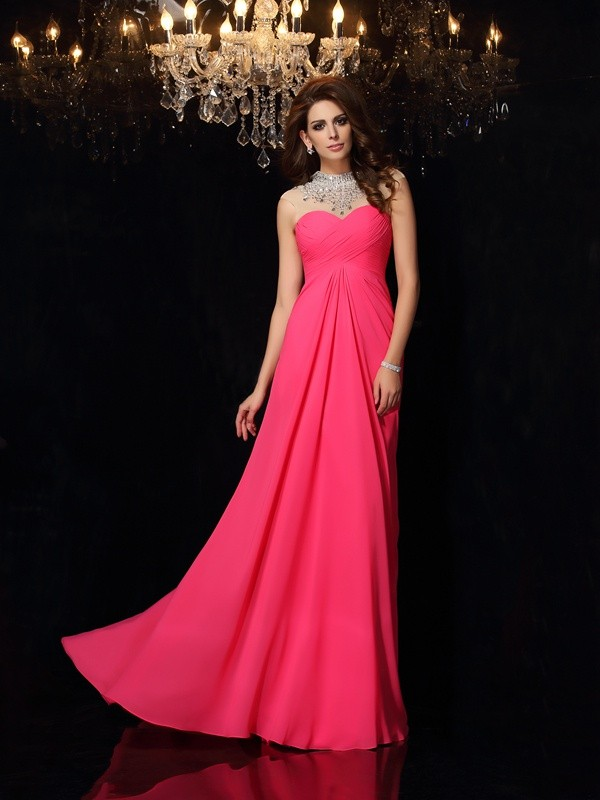 A-Line/Princess High Neck Ruched Sleeveless Long Chiffon Dresses