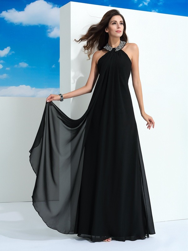 A-Line/Princess Halter Beading Sleeveless Long Chiffon Dresses