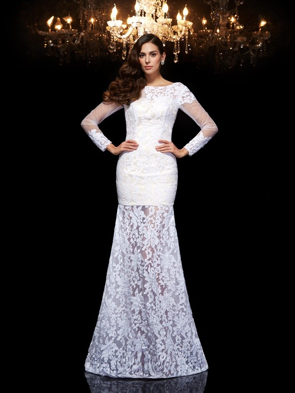 Trumpet/Mermaid Scoop Lace 3/4 Sleeves Long Lace Dresses