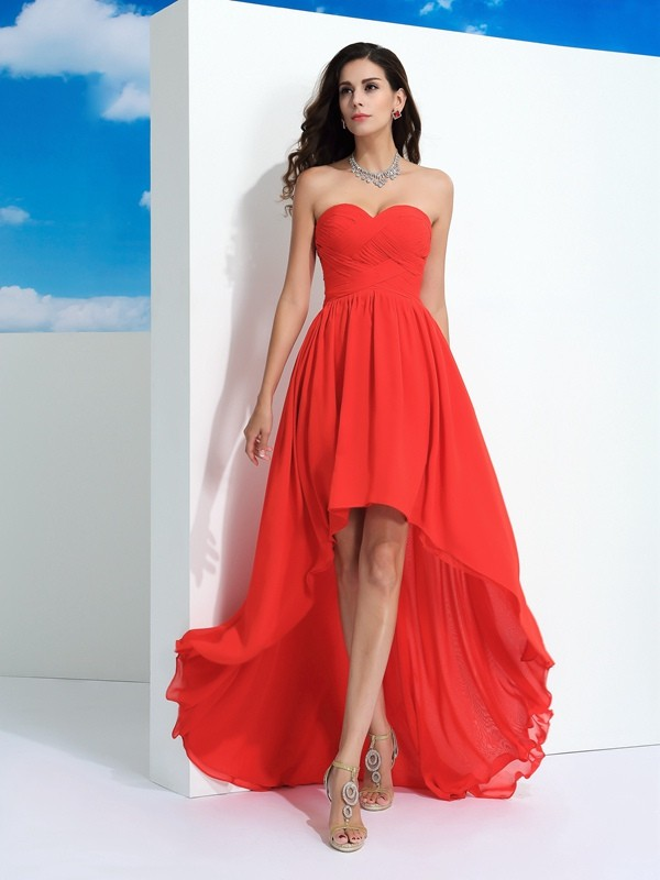 A-Line/Princess Sweetheart Pleats Sleeveless High Low Chiffon Dresses