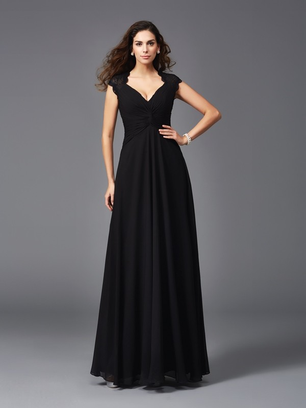 A-Line/Princess V-neck Sleeveless Long Chiffon Bridesmaid dresses