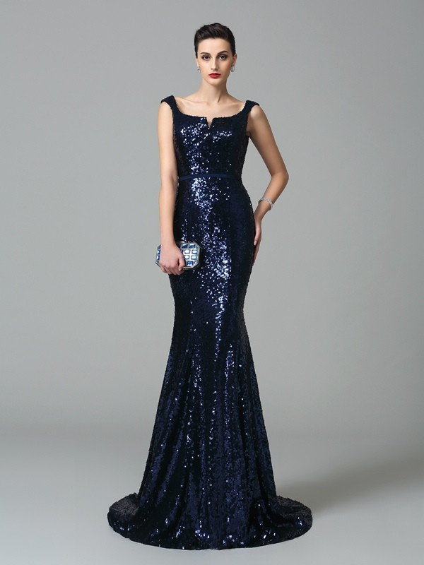 Trumpet/Mermaid Straps Sleeveless Long Sequins Dresses