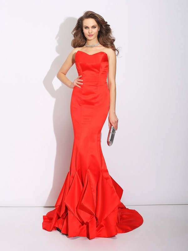 Trumpet/Mermaid Sweetheart Layers Sleeveless Long Satin Dresses