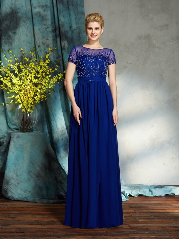 A-Line/Princess Scoop Beading Short Sleeves Long Chiffon Mother of the Bride Dresses