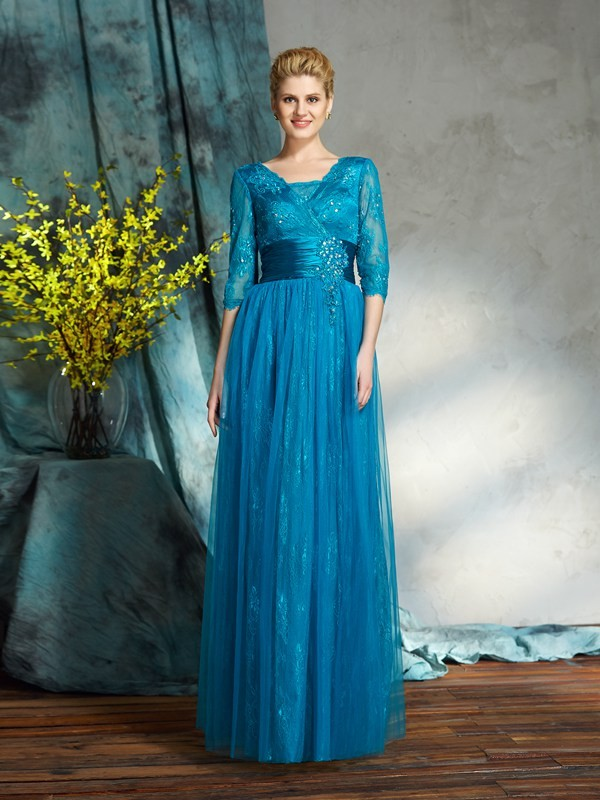 A-Line/Princess V-neck Applique 3/4 Sleeves Long Net Mother of the Bride Dresses