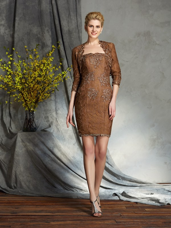 Sheath/Column Strapless Lace Sleeveless Short Lace Mother of the Bride Dresses