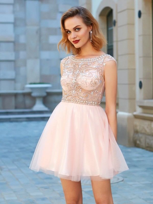 A-Line/Princess Scoop Net Short Sleeves Beading Short/Mini Dresses
