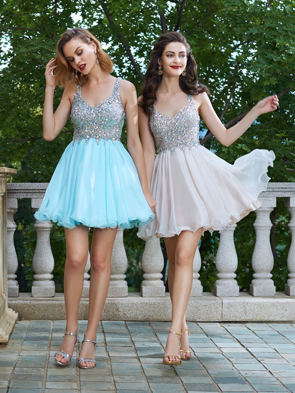 A-Line/Princess Rhinestone Straps Sleeveless Short/Mini Chiffon Dresses