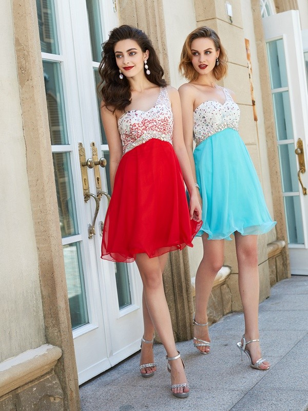 A-line/Princess Chiffon One-Shoulder Beading Sleeveless Short/Mini Dresses