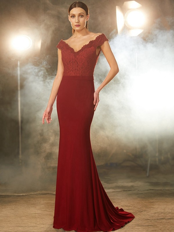 Trumpet/Mermaid Off-the-Shoulder Sleeveless Lace Spandex Sweep/Brush Train Dresses