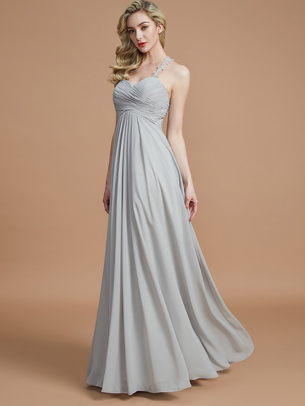 A-Line Sweetheart Sleeveless Ruched Floor-Length Chiffon Bridesmaid Dresses