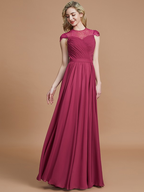 A-Line Scoop Short Sleeves Chiffon Floor-Length Bridesmaid Dresses
