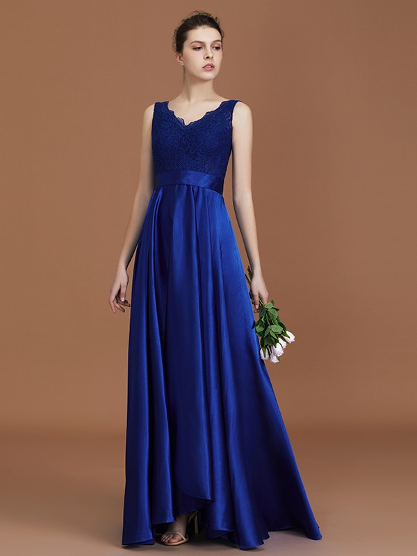 A-Line V-neck Sleeveless Satin Asymmetrical Lace Bridesmaid Dress
