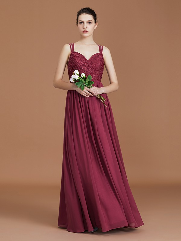 A-Line Lace Sweetheart Chiffon Floor-Length Bridesmaid Dress