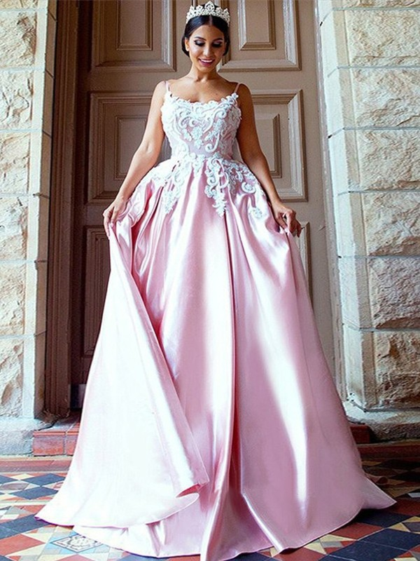 Ball Gown Sleeveless Spaghetti Straps Sweep/Brush Train Applique Satin Dresses