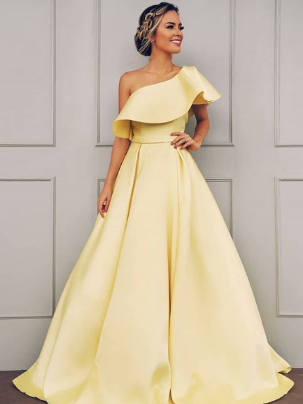 A-Line Sweep/Brush Train Sleeveless One-Shoulder With Ruffles Satin Dresses