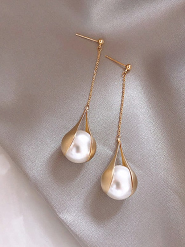 Brilliant 925 Sterling Silver Long Earrings With Pearl