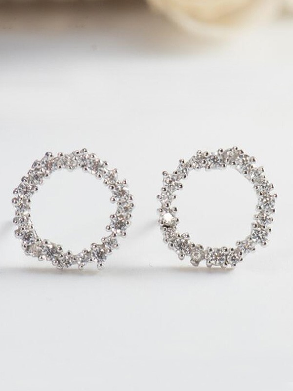 Attractive S925 Silver Earrings With Zircon