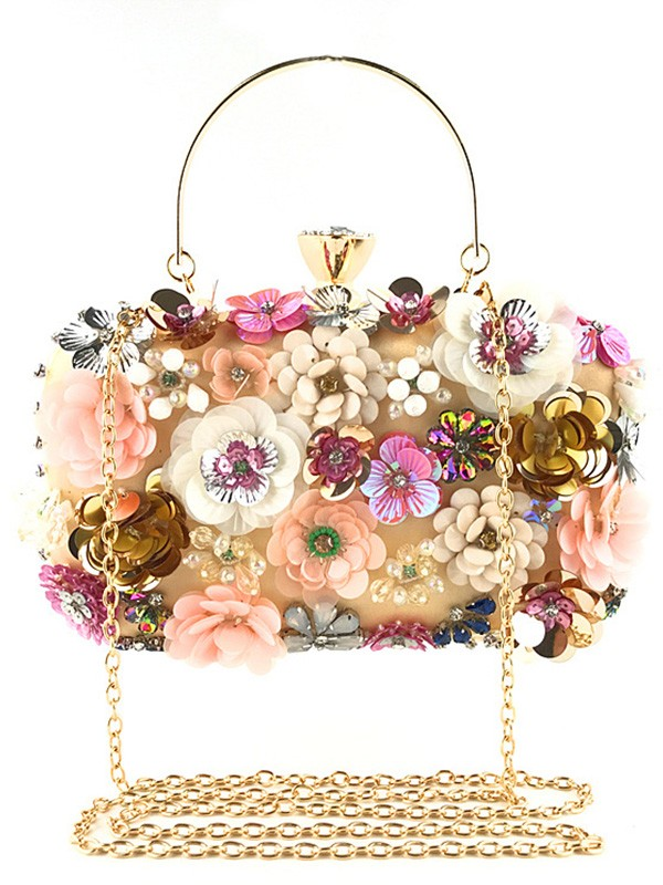 Glamorous Satin Bags With Flowers For Evening/Casual