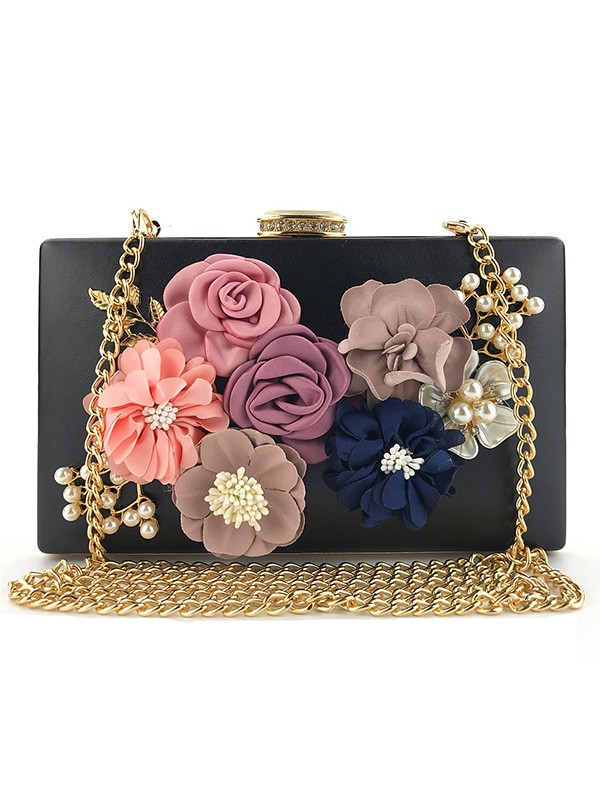 Stylish Flowers PU Bags For Evening/Casual