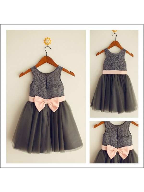 A-Line Scoop Sleeveless Bowknot Tea-length Tulle Flower Girl Dress