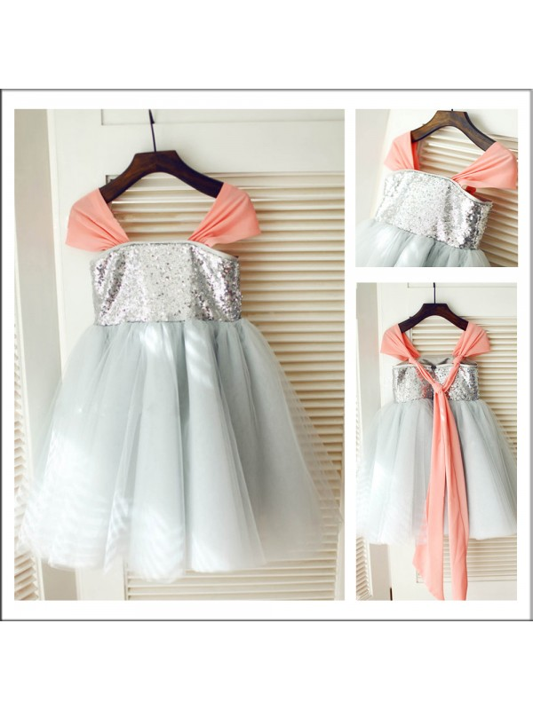 A-Line Straps Sleeveless Tea-length Tulle Flower Girl Dress