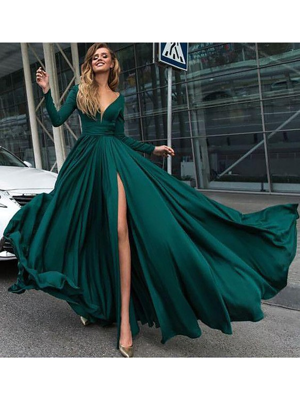 A-Line V-Neck Long Sleeves Floor-Length Ruffles Satin Chiffon Dresses