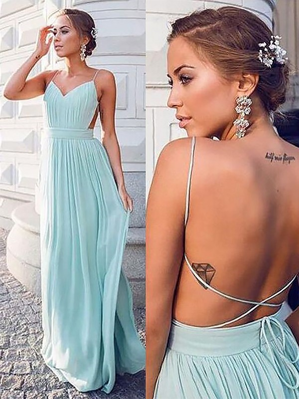 A-Line Spaghetti Straps Sleeveless Floor-Length Ruched Chiffon Dresses