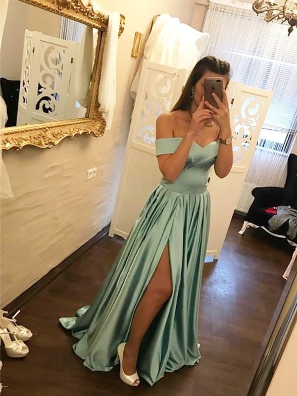 A-Line Off-the-Shoulder Sleeveless Sweep/Brush Train Satin Ruffles Dresses