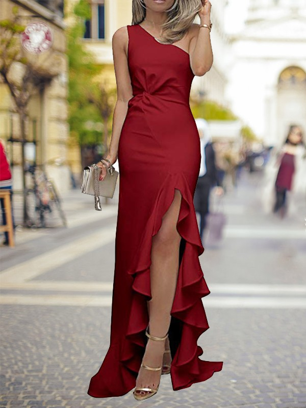 Sheath One-Shoulder Silk like Satin Sweep/Brush Train Dresses With Ruffles