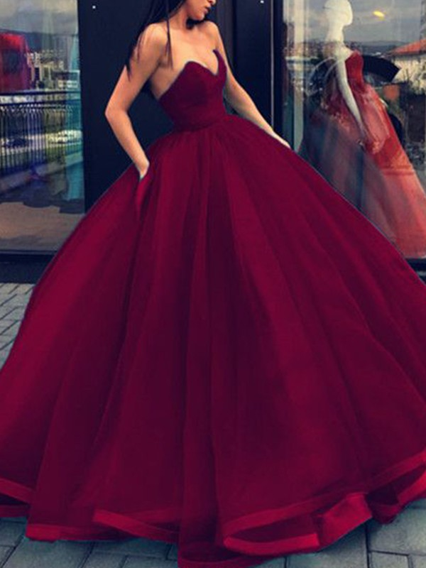 Ball Gown Sleeveless Sweetheart Organza Floor-Length Dresses