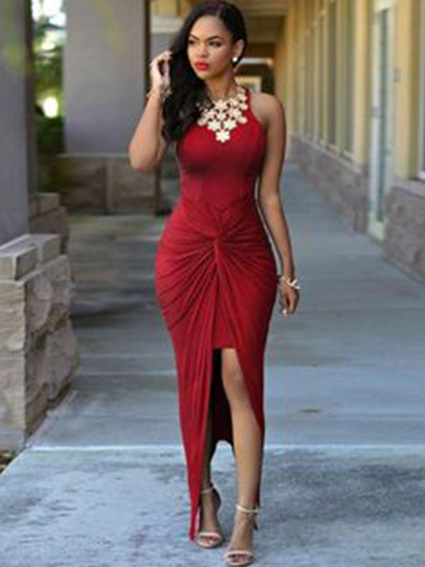 Sheath Sleeveless Jewel Ankle-Length Spandex Asymmetrical Dresses With Beading